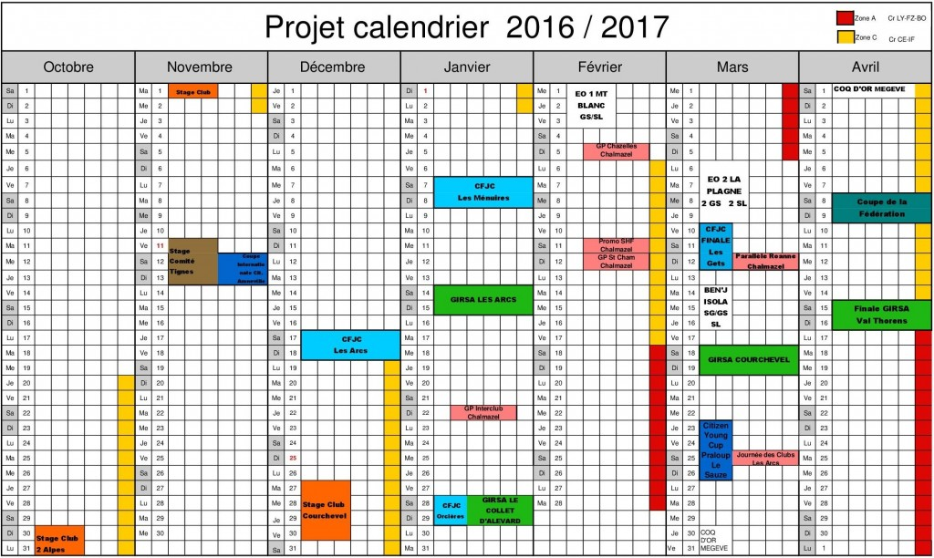 calendrier 2017 ski
